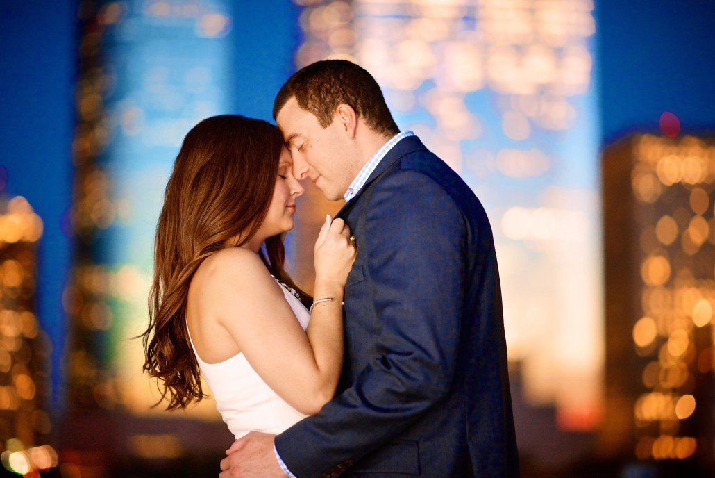 Night Skyline Engagement Portrait Ideas