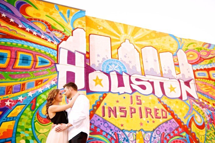 Houston Art Wall Engagement Photos