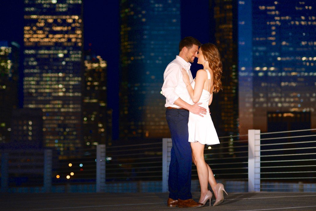 Night Engagement Portraits with Skyline