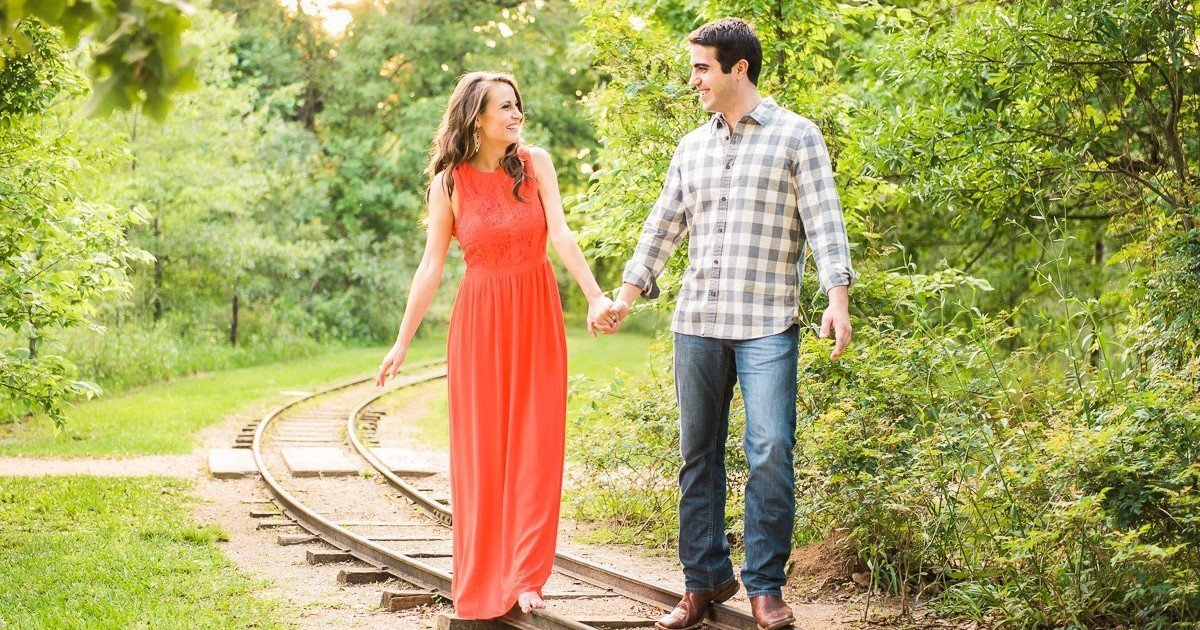 Engagement Portraits with Railroad Tracks
